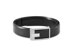 Men's black leather strap. On white background Stock Photos
