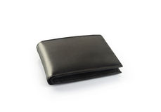 Men's Black Leather Wallet. Isolated on White Stock Photography