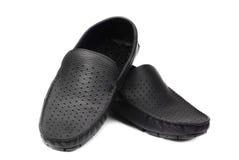 Men's black modern shoe isolated on a white stock image