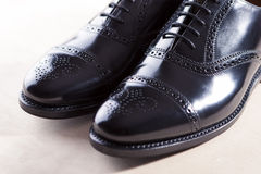 Men's Black Semi-Brogue Laced Oxfords Shoes. Diagonal Compositio Royalty Free Stock Images