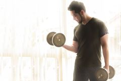 Men`s black shirt are lifting dumbbells royalty free stock photos