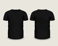 Men S Black T-shirt Short Sleeve In Front And Back Views. Vector Template. Fully Editable Handmade Mesh Royalty Free Stock Images