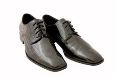 Men's black tuxedo shoes. Men's black dress / tuxedo shoes on white background. Clipping path included Royalty Free Stock Photos