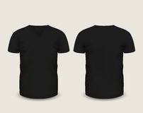 Men's black V-neck t-shirt short sleeve in front and back views. Vector template. Fully editable handmade mesh Stock Image