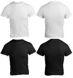 Men's Blank Black and White Shirt Template Stock Images