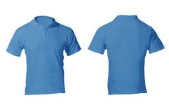Men's Blank Blue Polo Shirt Template. Men's Blank Blue Polo Shirt, Front and Back Design Template Stock Image