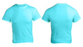 Men's Blank Blue Shirt Template. Men's Blank Blue Shirt, Front and Back Design Template Royalty Free Stock Photo