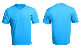 Men's Blank Blue V-Neck Shirt Template. Men's Blank Blue V-Neck Shirt, Front and Back Design Template Royalty Free Stock Photography