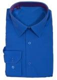 Men's blank folded shirt. Isolated on white. Background Stock Photos