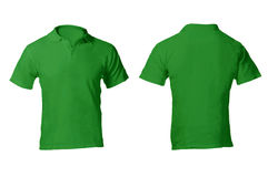 Men's Blank Green Polo Shirt Template. Men's Blank Green Polo Shirt, Front and Back Design Template Stock Photos