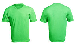 Men's Blank Green V-Neck Shirt Template. Men's Blank Green V-Neck Shirt, Front and Back Design Template Stock Photos