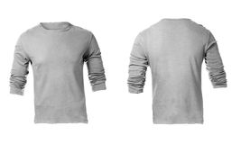 Men's Blank Grey Long Sleeved Shirt Template. Men's Blank Grey Long Sleeved Shirt, Front Design Template Stock Photo