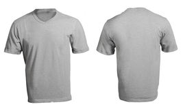 Men's Blank Grey V-Neck Shirt Template. Men's Blank Grey V-Neck Shirt, Front and Back Design Template Stock Image