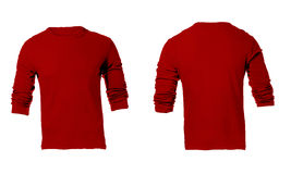 Men's Blank Red Long Sleeved Shirt Template Stock Image