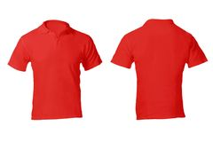 Men's Blank Red Polo Shirt Template. Men's Blank Red Polo Shirt, Front and Back Design Template Royalty Free Stock Photo
