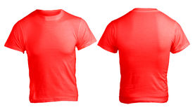 Men's Blank Red Shirt Template. Men's Blank Red Shirt, Front and Back Design Template Stock Images