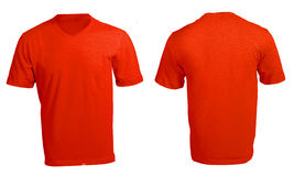 Men's Blank Red V-Neck Shirt Template Stock Images