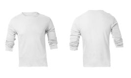 Men's Blank White Long Sleeved Shirt Template. Men's Blank White Long Sleeved Shirt, Front Design Template Stock Photos