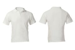 Men's Blank White Polo Shirt Template. Men's Blank White Polo Shirt, Front and Back Design Template Stock Photos