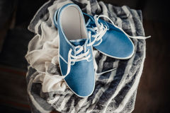 Men's blue loafers, masculine style Stock Photo