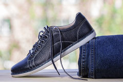 Men's blue sneakers Royalty Free Stock Photo