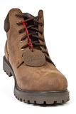 Men's boots. Mens brown leather boots with a red label strings stock images