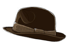 Men's  Brown hat  Fedora Royalty Free Stock Photography