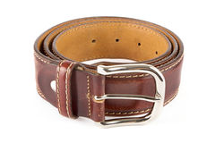 Men's brown leather belt Royalty Free Stock Photos