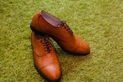 Men's Brown Leather Boat Shoes over Green Grass royalty free stock images