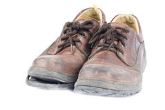 Men's Brown Leather Old Shoes Stock Photos