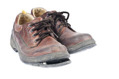 Men's Brown Leather Old Shoes Stock Photography