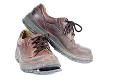 Men's Brown Leather Old Shoes Stock Image