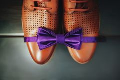 Brown leather shoes and purple bow tie. Stock Images