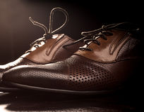 Men's brown shoes Stock Image