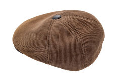 Men's cap. Men's corduroy cap isolated on a white background Royalty Free Stock Photo