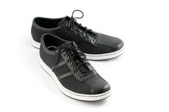 Men's casual black shoes Stock Photos