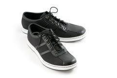 Men's casual black shoes Stock Photos