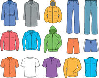 Men's casual clothes and sportswear illustration Stock Photos