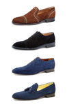 Men's casual shoes on white. Collage casual men's shoes on white Stock Photo