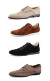 Men's casual shoes on white. Collage casual men's shoes on white royalty free stock images