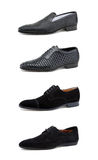 Men's casual shoes on white. Collage casual men's shoes on white stock photography