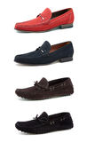 Men's casual shoes on white. Collage casual men's shoes on white royalty free stock image