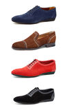 Men's casual shoes on white. Collage casual men's shoes on white Stock Images