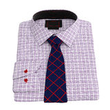 Men's checkered shirt with tie, top view Royalty Free Stock Photography