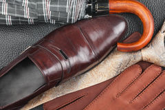 Men's classic accessories: shirt, tie, shoes, as a backdrop. Top view Stock Image