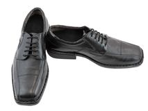 Men's classic black shoes. Isolated. Stock Photos