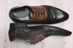 Men`s classic brown  shoes Royalty Free Stock Images