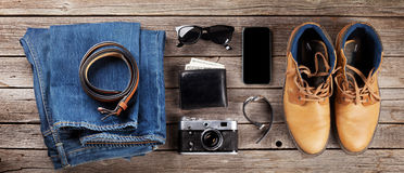Men`s clothes and accessories stock image