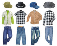 Men`s clothes collection. Isolated on white royalty free stock photography