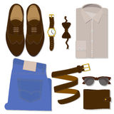 Men S Clothes Set. Flat Vector Icons Stock Image